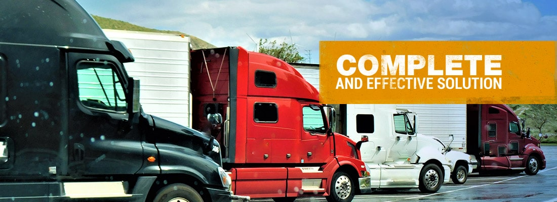 Photo of Semi-trucks with tex that says Complete and Effective Solutions